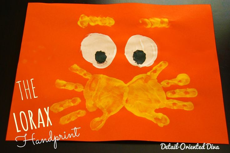 Detail-Oriented Diva!: The Lorax Handprint: {Dr. Seuss' Birthday}  Also a Cat in the Hat handprint. I believe Dr. Seuss's birthday is March 2.
