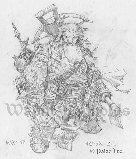 Work in progress sketch of Harsk the Iconic Dwarven Ranger