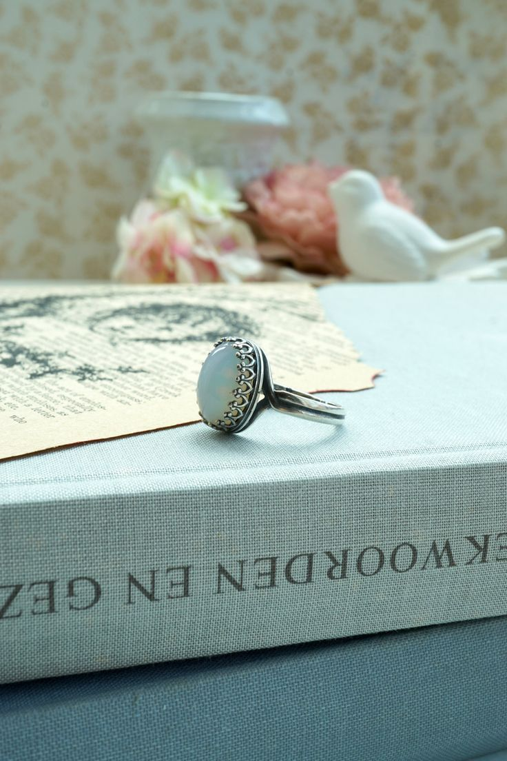 White Opal Faux Antiqued Silver Ring Wedding Pearl Jewelry White Smokey Opal Color Lace Adjustable Ring, Faux Opal Glass Stone Bridal Ring by Marolsha on Etsy