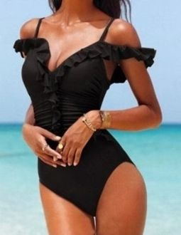 Beautiful Off the Shoulder Swimsuit Full Body