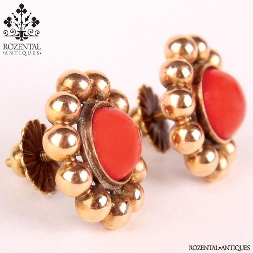 Antique Victorian 18k Gold Coral Earrings