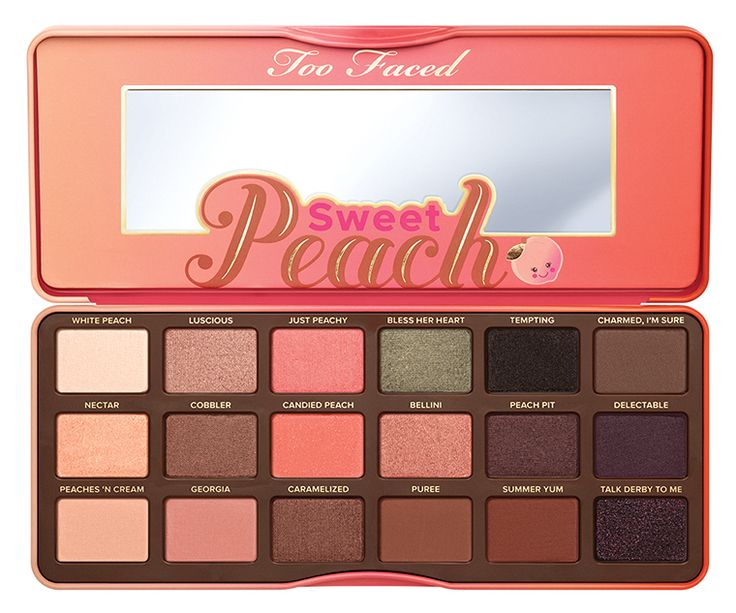Too Faced Sweet Peach Eye Shadow Collection Be sweet as a peach with these fresh-picked shades infused with the juicy scent and antioxidant-rich essence of
