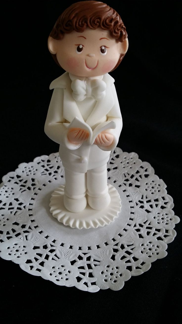 Praying First Communion Girl or Boy Cake Topper, White Flower Rosary Communion Favors Boy Girl Cake Topper Holly Communion Cake Decoration
