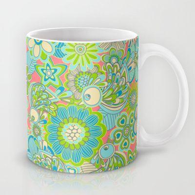"""Welcome birds to my garden""..pink Mug by Juliagrifol designs - $15.00,mug#birds#pattern#green#kitchen#coffee#design#society6"