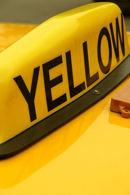 the new york yellow cab. bright yellow to catch the eye, making them noticeable.