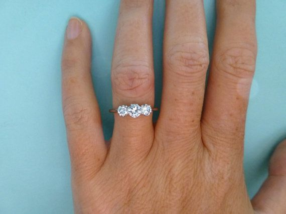 Art Deco platinum diamond 3 stone engagement by antiquejewelbox, $1395.00