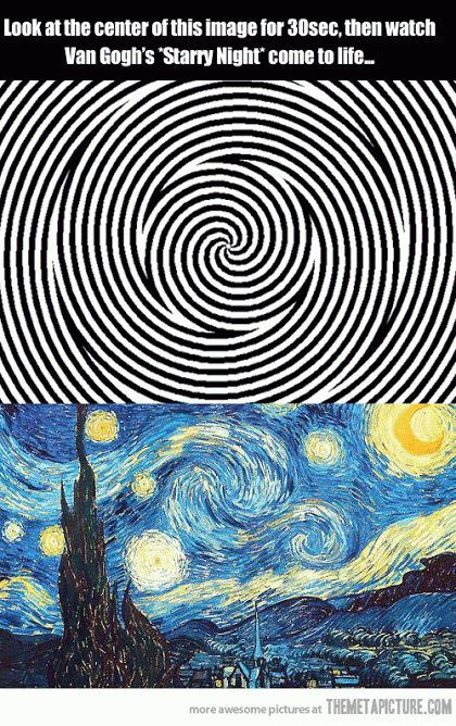 """Cool Gif: stare at the (moving) top design for 30 seconds then watch """"Starry Night"""" come to life!"""
