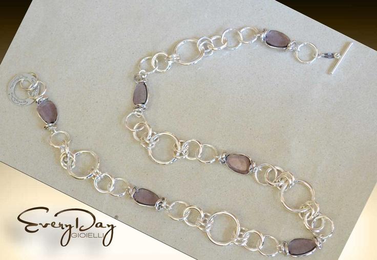 #collana #everydaygioielli in #argento 925 con pietre ametista everydaygioielli 925 silver necklace with amethyst stones www.fashiongoldgioielli.com