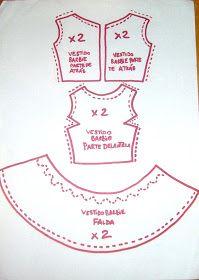 DOLL TUTORIAL: patrones para vestido barbie                                                                                                                                                      Más
