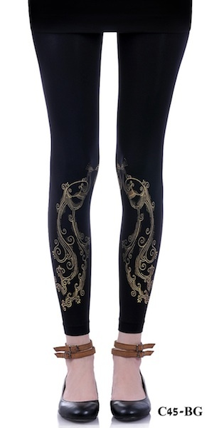 Upgrade your wardrobe with Zohara designer Footless Tights. These fashiobanle Footless Tights feature gold peacock feathers print on a classic black Footless Tights. Printed Footless Tights are a great way to keep your look trendy, fun and unique on the same time.$29.95