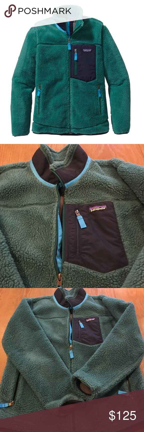 LIKE NEW Patagonia Classic Retro Fleece Jacket LIKE NEW (worn maybe 1-2 times, no change to fleece under the arms as can be seen in photos) women's Patagonia Classic Retro-X Fleece Jacket. This GORGEOUS arbor green and navy jacket blocks out all the wind without all the bulk! Perfect for fall all he way through spring, the jacket has multiple pockets and will keep you looking sharp. Size XL. Need out of my closet-give this ALMOST BRAND NEW jacket a new home!! Patagonia Jackets & Coats