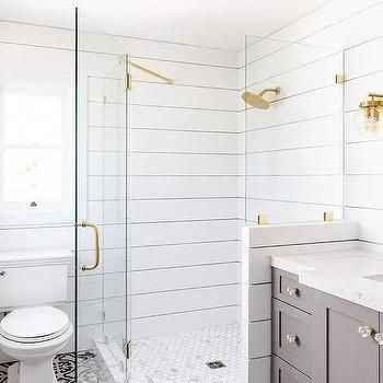 corner glass shower with shiplap walls #bathroomshowertile