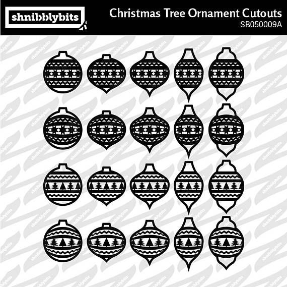 60 Layered Christmas Tree Ornament Cutouts  SVG DXF PNG