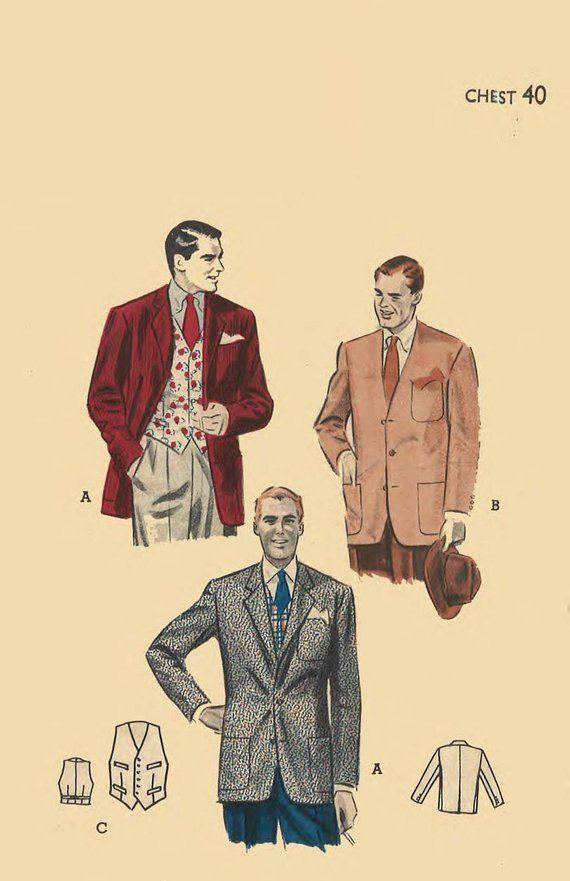 "Vintage 1950/'s Sewing Pattern Men/'s Tailored Jacket Vest Waistcoat Chest 40/"""