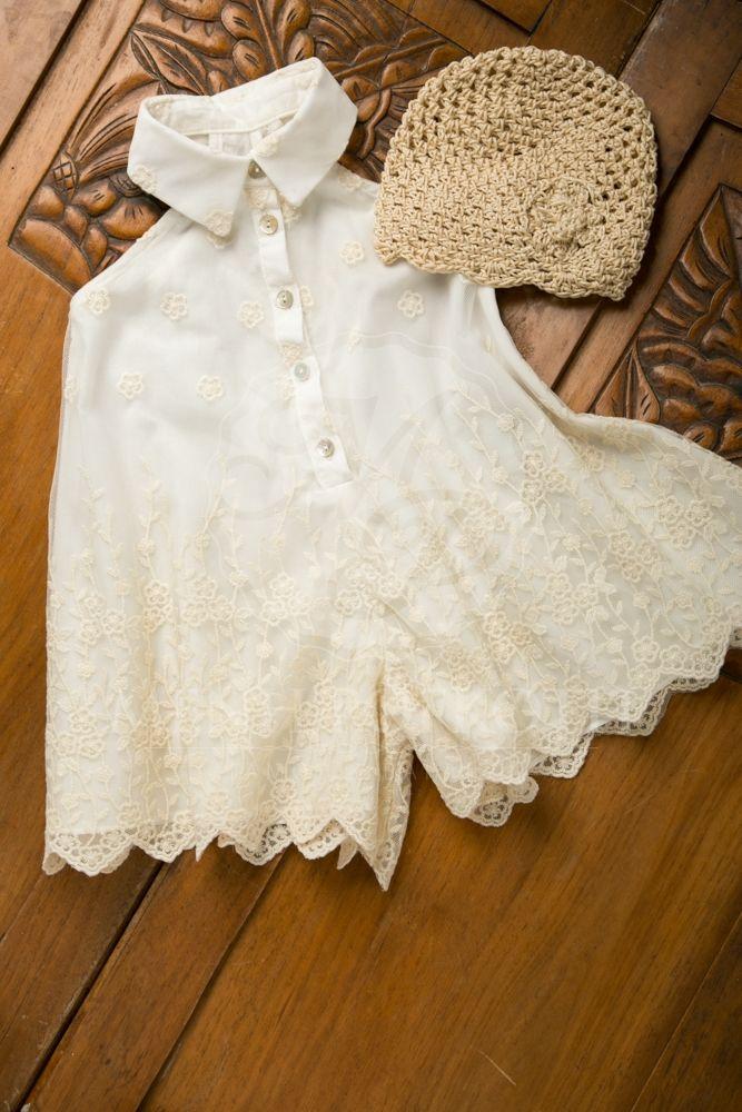 Βαπτιστικά ρούχα για κορίτσι της Vanessa Cardui ζιπ-κιλοτ από βαμβάκι και κεντημένο τούλι