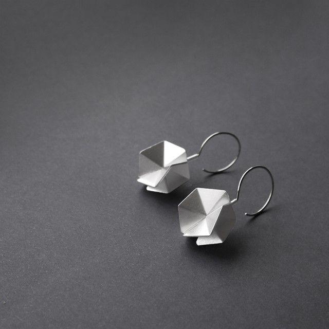 Hexagon 3D - Sterling Silver Hook Earrings by RawObjekt - Qrator