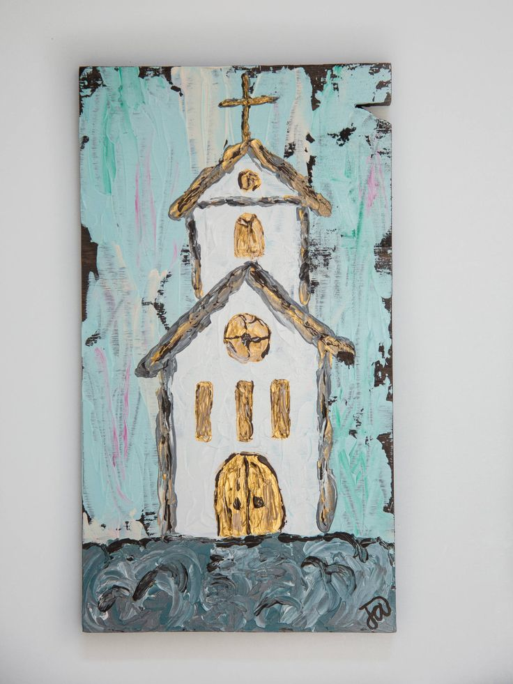 Church Painting on Wood, Textured Wooden Church Painting, Farmhouse Style Wall Decor, Rustic Wooden Church Acrylic Painting, Blue, Gold by MerryHeartDesigns on Etsy https://www.etsy.com/listing/528467629/church-painting-on-wood-textured-wooden