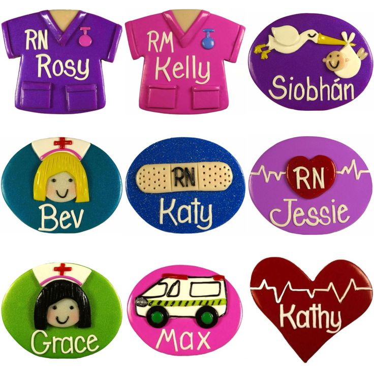 Nurse Name Badges Handmade to Order - choose from 150 designs & 24 background colours.  Karyn from Just For You Name Badges can make you the perfect name badge.  Loved by nurses, RN, EN, EEN, ICU, doctors, teachers, childcare workers, caregivers, receptionists