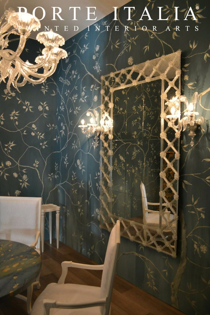 """Our unique Murano mirror! And no, that is not wallpaper! Our amazing ceiling decorations, entirely handmade by our own Italian artists! Milan Exhibition """"Il Salone del Mobile"""" - Porte Italia Interiors"""