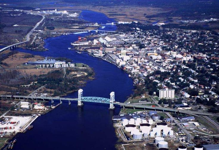 Aerial View of Wilmington, with the Battleship North Carolina on the left. File:WilmingtonAerialViewCoastGuard.jpg