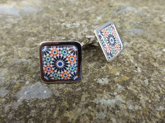 Alhambra Tile Pattern Chrome Cuff Links by DragonTreeStudio