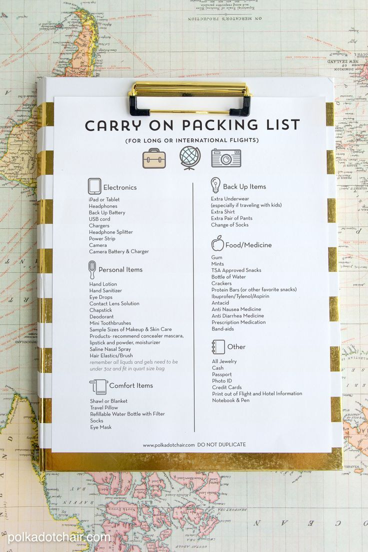 Tips and tricks for surviving a long airplane flight, including a free printable carry on packing list and lots of family travel tips.