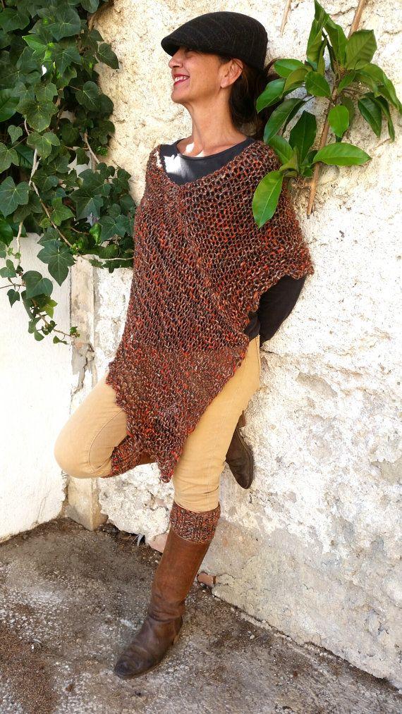 Poncho naranja alpaca poncho de punto chal marrón y por EstherTg