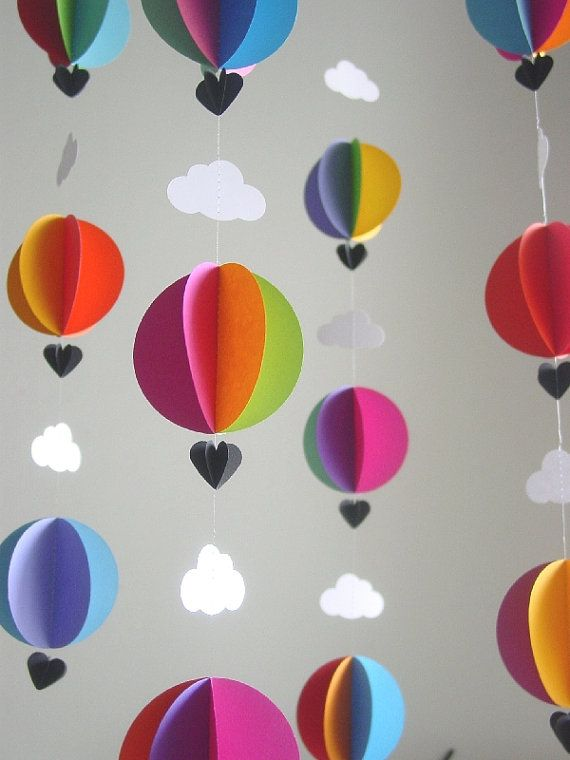 Mobile-Hot Air Balloons Clouds-3D-Mobile-Crib Mobile-Baby-Nursery Decor-Kids Room-Children-Bright Colours-Baby Shower Gift-Paper