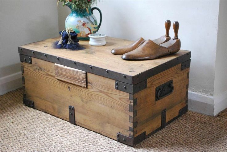 Vintage rustic pine box chest trunk coffee table with metal strapping living room pinterest Metal chest coffee table