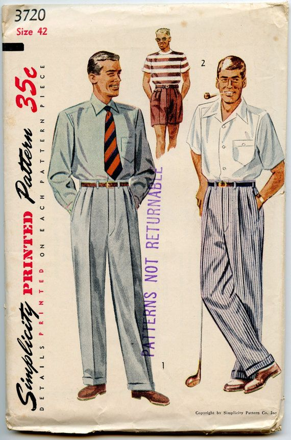 1950s Mens Pattern Simplicity 3720 Mens Pleated by GreyDogVintage, $38.00