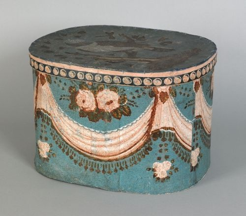 """Rhode Island wallpaper hat box, 19th c., the lid decorated with a large parrot, the sides with swags, 12"""" h., 17"""" w., 13 1/2"""" d."""