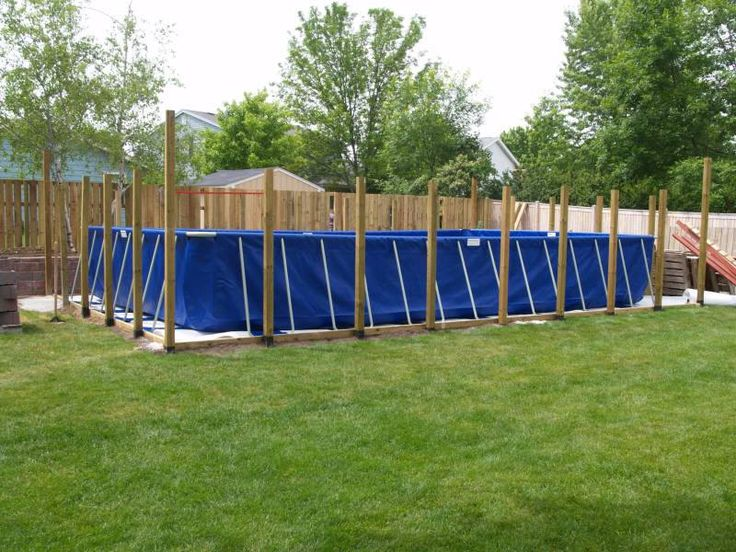 Magnificent Modern Style Backyard Portable Swimming Pools Ideas Equipped With Bamboo Material In Lawn Area With Wooden Fence