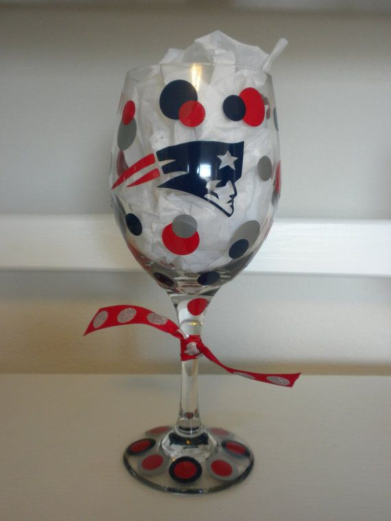 NFL's New England Patriots Wine Glass by dottindivas on Etsy, $13.00