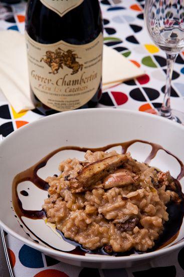 Foie gras poêlé sur risotto aux morilles et senteurs de sureau