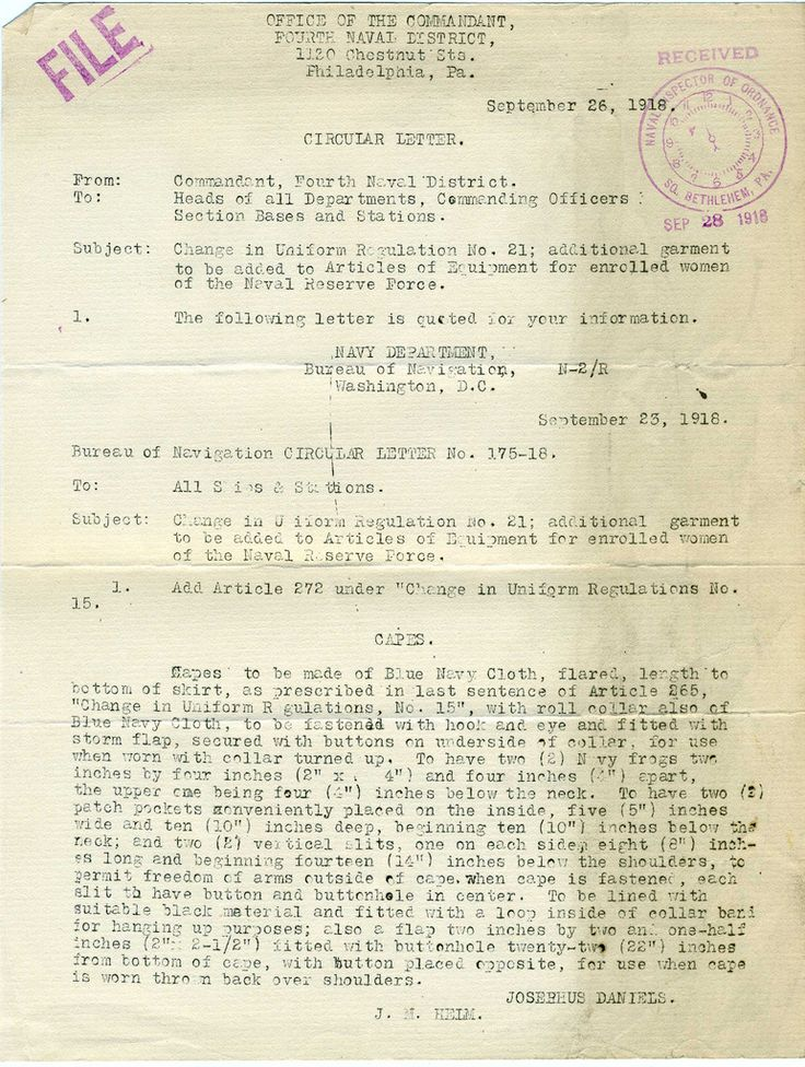 US Navy Reserve Force, Yeoman F, Uniform Regulations. WWI  Circular Letter regarding Capes signed by Josephus Daniels.  Collection of Curator Branch Naval History and Heritage Command Collection of Navy  Department Library.