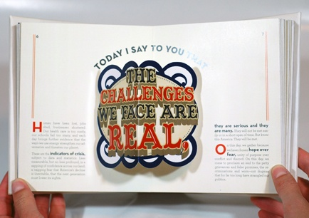 """A """"Political Pop-Up"""" typography book of President Obama's inaugural address."""
