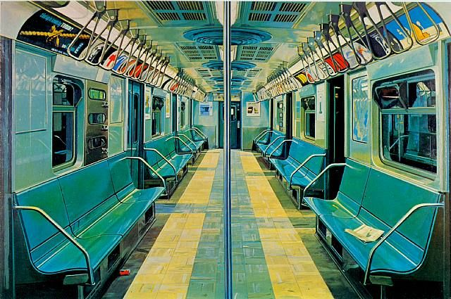 subway by Richard Estes (1969),  	Title: 	Subway,  	Work Date:	 	1969,  	Medium:	 	oil on canvas,  	Size:	 	h: 42 x w: 69 in / h: 106.68 x w: 175.26 cm