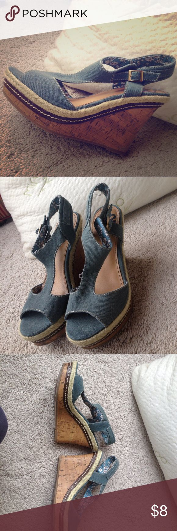 Platform Fergie Wedges Jean Material Floral Print Platform Wedges by Fergie 👠 Worn a few times but still in great condition. Looking for a new owner! Floral print on inside of shoe and cork Material heel. Fergalicious Shoes Wedges