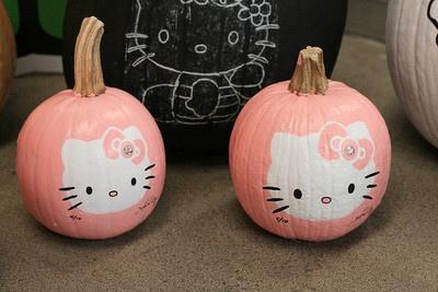 pumpkins: Stuff, Kittypumpkin, Pink Pumpkin, Kitty Pumpkin, Halloween Diy'S, Paintings Pumpkin, Hellokitti, Hello Kitty, Crafts