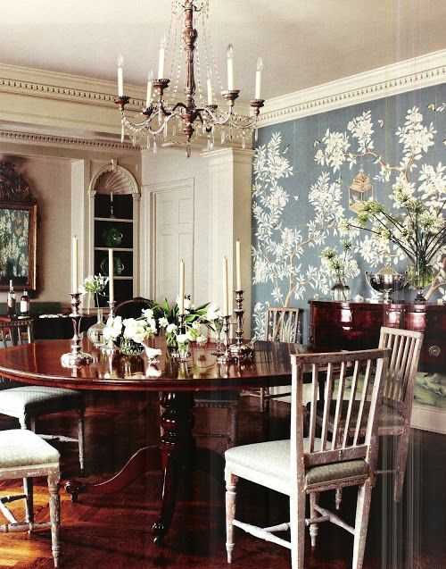 Beautiful Blue Dining Rooms: Love The Grey-blue De Gournay Wallpaper In This Beautiful