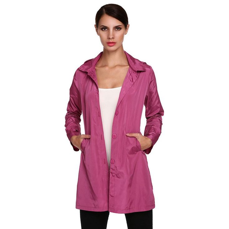 Women Rain Coats With Hoodie Plus Size Fashion Thin Rain Coat, Green, Sky Blue, Purple, Blue