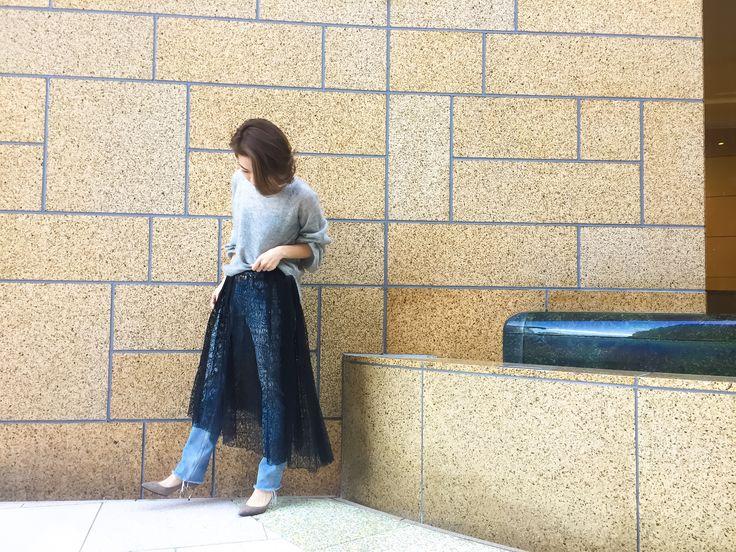 lace skirt×denim