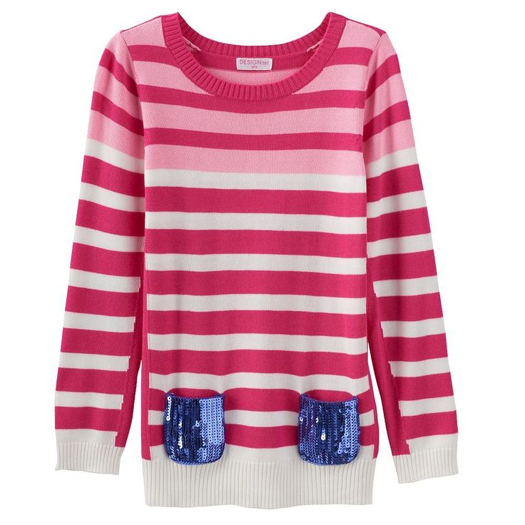 Design 365 Stripe Sweater - Toddler Girl, Size: 4T, Pink Other