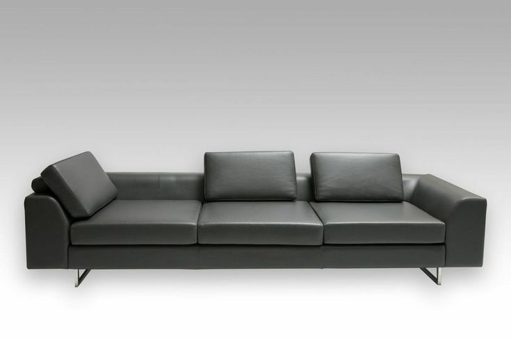 Odyssey Sofa looks slick in leather. Also available in fabric.