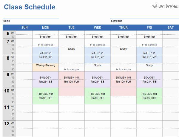 College Course Planning Template Inspirational 20 Plantillas Gratis De Horarios P Class Schedule Template Class Schedule College Weekly Schedule Template Excel