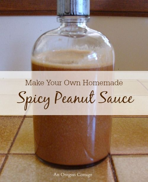 Spicy peanut sauce is a staple in our house and was created based on the ingredients in our favorite store brand.