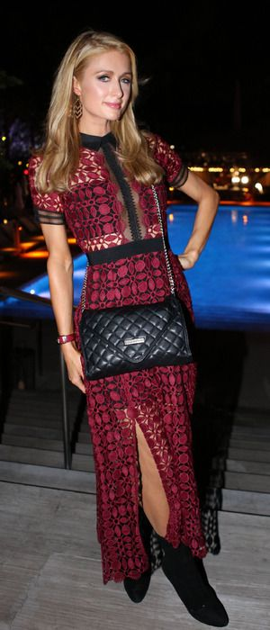 Paris Hilton in a crochet dress attends the Paper magazine dinner, Miami, 2nd December 2015