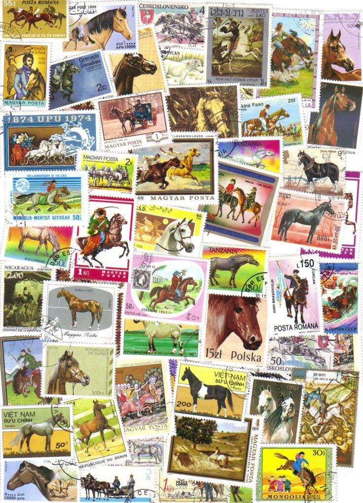50 Horse themed postage stamps - Vintage and modern stamps - Horse and pony stamps, world wide stamps, old stamps, stamp collection - pinned by pin4etsy.com