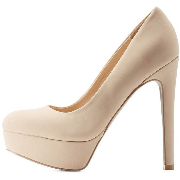 Charlotte Russe Nude Qupid Platform Pumps by Qupid at Charlotte Russe ($36) ❤ liked on Polyvore featuring shoes, pumps, heels, nude, nude pumps, stiletto pumps, almond toe pumps, stilettos shoes i heels & pumps