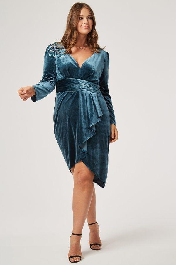 5067fcd4c271 Little Mistress Curvy Cali Velvet Mock Wrap Dressclass